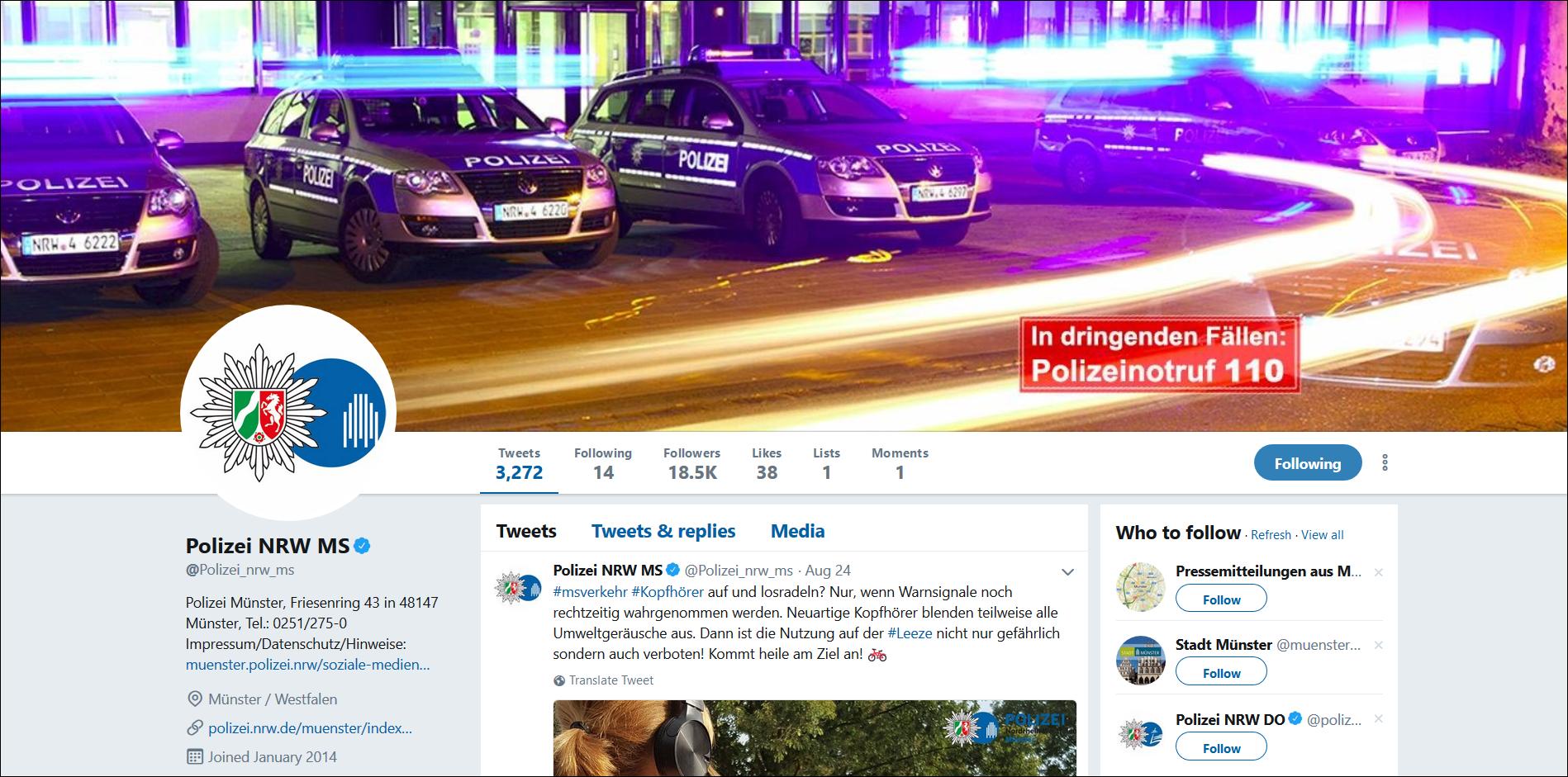 Twitter Profil der Polizei Münster