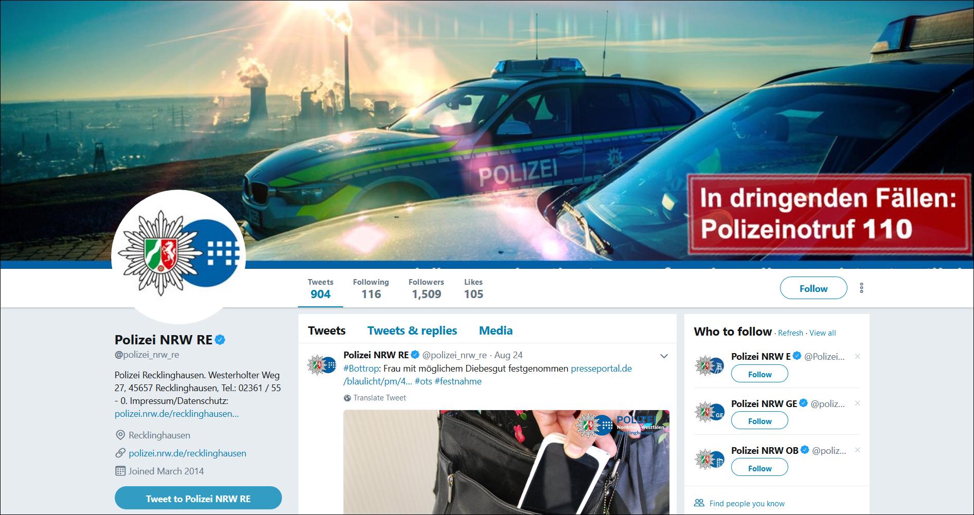 Twitter-Profil der Polizei Recklinghausen